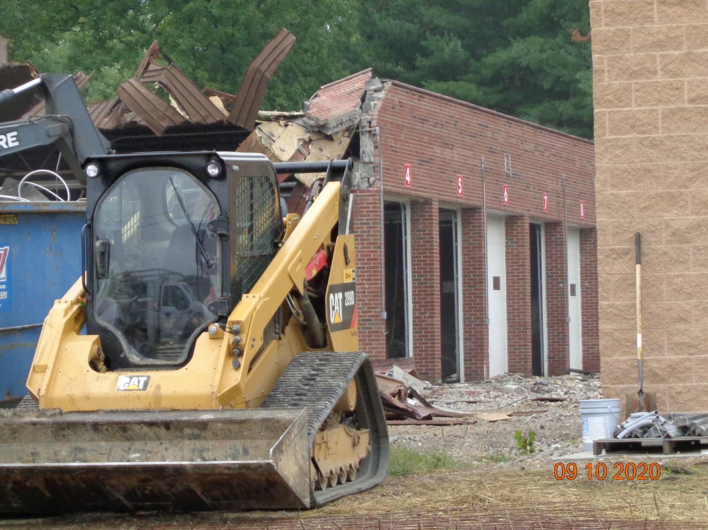 old bus demolition